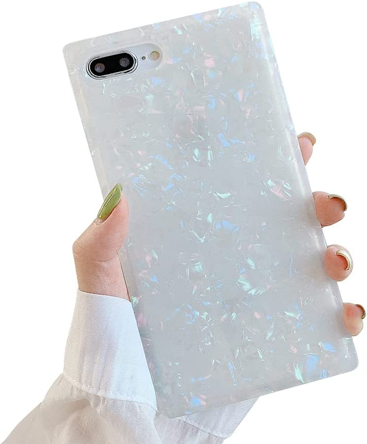 SUYACS Square Phone Case Compatible with iPhone 8 Plus, iPhone 7 Plus 5.5 Inch Cute Glitter Colorful Sea Shell Pearl Design Translucent Anti-Drop Bumper Slim Fit Sparkle Soft Silicone Cover