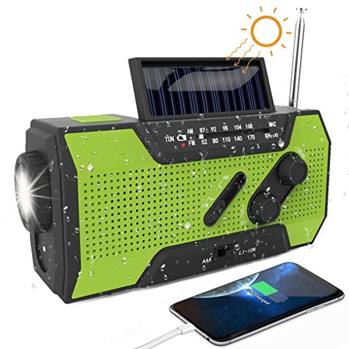 Portable Emergency Radio, Solar Power Hand Crank USB Charge Radio, Small...