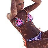 Women's Floral Print Bikini Two Piece Halter Neck Tie Side Triangle Swimsuits Padded Bathing Set (L, Pink)