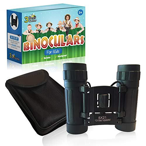 3 Bees & Me Binoculars for Kids - Fun Kids Gift for Boys & Girls - Shockproof Kids Binoculars & Travel Pouch - 8x21 Lens - Compact Durable & Easy to Focus - See 10 Football Fields Away by 3 Bees & Me