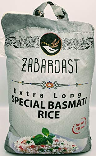 Cook Zest ZABARDAST Special Basmati Rice (Extra Long Grain White Basmati | 10 Lb Bag) - Gluten Free, All-natural Gourmet Rice