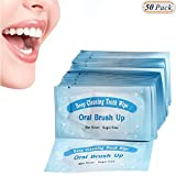 Hisight Fresh Breath Deep Cleaning Teeth Wipes Finger Brush Teeth Wipes Oral Brush Finger Brush Pre and Post Brush (Pack of 50)