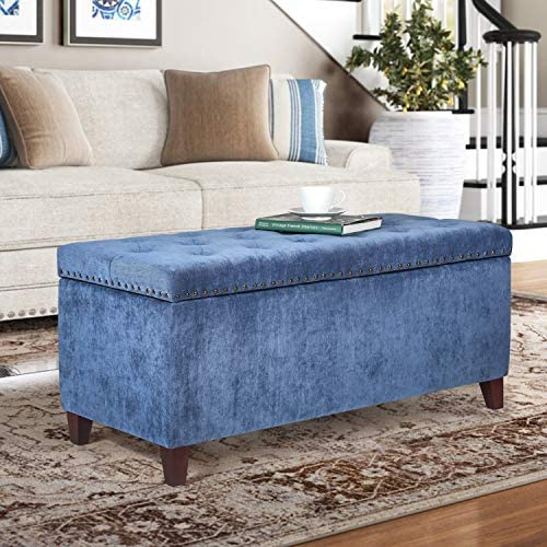 Homebeez Velvet Storage Ottoman Bench Tufted Foot Stool Rest