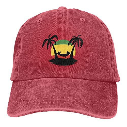 Trucker Cap Desenhos De Reggae Durable Baseball Cap,Adjustable Dad Hat Red