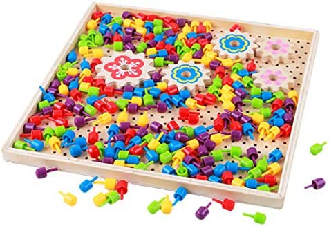 Yamix Mushroom Nails Pegboard Jigsaw Puzzle Jigsaw Toys Puzzle Educational Building Block DIY Mosaic Puzzle Mosaic Toys for Kids Girls Boys