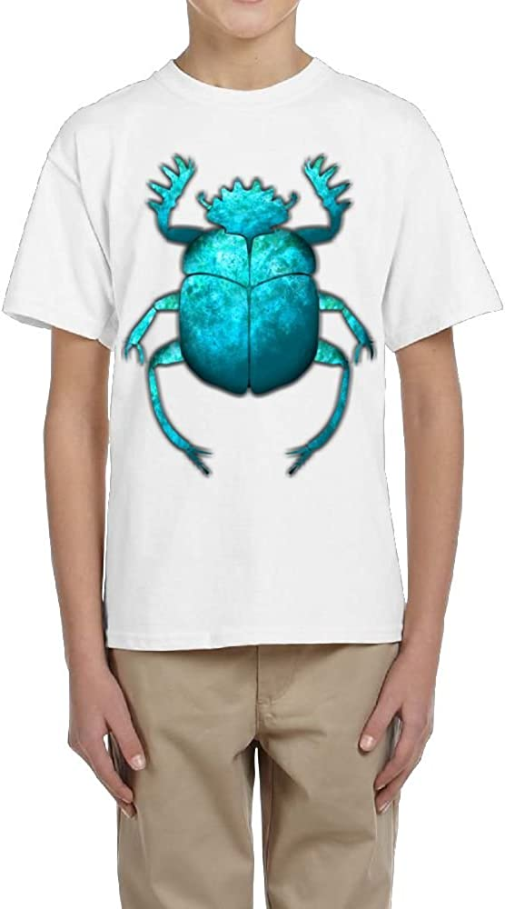 Fzjy Wnx Boy Short-Sleeve T-Shirt Crew-Neck Turquoise Scarab Beetle