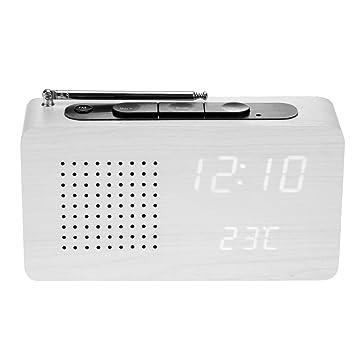 Vanpower Reloj Digital de sobremesa con Control Acústico (Madera, Radio FM): Amazon.es: Hogar