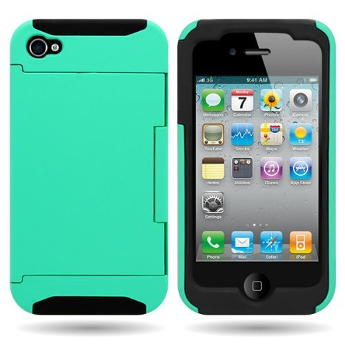 CoverON® Hybrid Dual Layer Case with Credit Card Holder for APPLE IPHONE 4 4S - TEAL Hard BLACK Soft Silicone (I Phone 4s Cases With Card Holder)