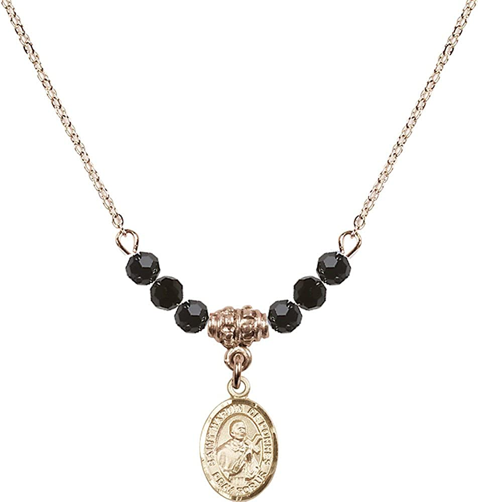 18-Inch Hamilton Gold Plated Necklace with 4mm Jet Birthstone Beads and Gold Filled Saint Martin de Porres Charm.