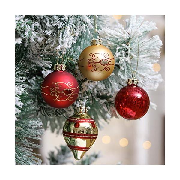 Valery Madelyn Palle di Natale Vetro Addobbi Natalizi Set, 24 Pezzi 6-10.5cm Luxury Red And Gold Palline di Natale Decoration for Addobbi Natalizi per Albero 6 spesavip