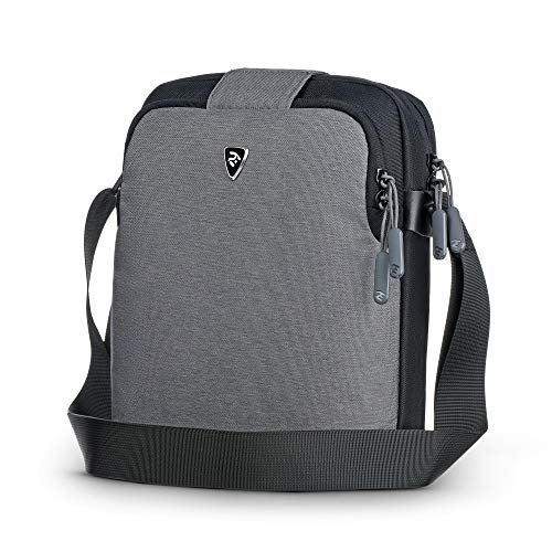 2E Casual Shoulder Bag for Men, fits 10 inch iPad and Tablets, Canvas Messenger Bag with Adjustable Strap, Water Resistant, Slate Grey