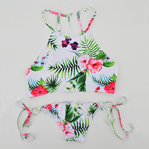 Honghu Push Up Bikini Impresión de Partido para Mujer Trajes De Baño Beachwear Swimsuit Swimwear Bañadores Blanco