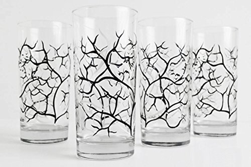 Spooky Black and White Trees with Birds - Set of 4 Drinking Glasses