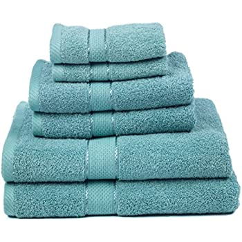 Premium Bamboo Cotton 6 Piece Towel Set (2 Bath Towels, 2 Hand Towels And