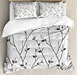 Ambesonne Leaf Duvet Cover Set Queen Size, Branches in The Fall Trees Stem Twig with Last Few Leaves Minimalistic Design Art, Decorative 3 Piece Bedding Set with 2 Pillow Shams, Pale Grey Brown