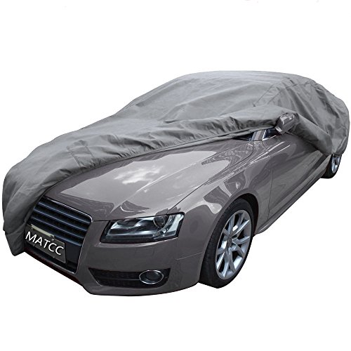 MATCC Car Cover Waterproof Auto Cover Breathable with Soft Cotton Protect from Scrapes Sun Rays Moisture Corrosion Dust Dirt for Full Car Fits Sedan L (185''Lx71''Wx59''H) -