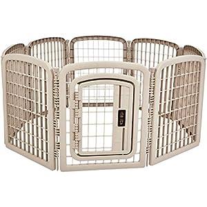 AmazonBasics 8-Panel Plastic Pet Pen Cage Playpen 18