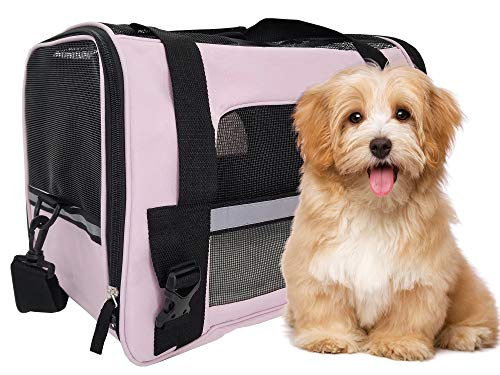 ToysOpoly Premium Pet Travel Carrier, Airline Approved, Soft Sided with Fleece Bed Mats, Perfect for Small Dogs, Cats, Birds, Rabbits, and Chicken (Pink)