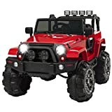 Marketworldcup- 12V Ride On Car Truck Remote Control 3 Speed LED Lights Red