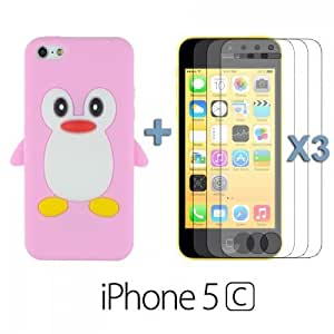 OnlineBestDigital - Penguin Style Silicone Case for Apple iPhone 5C - Pink with 3 Screen Protectors hjbrhga1544