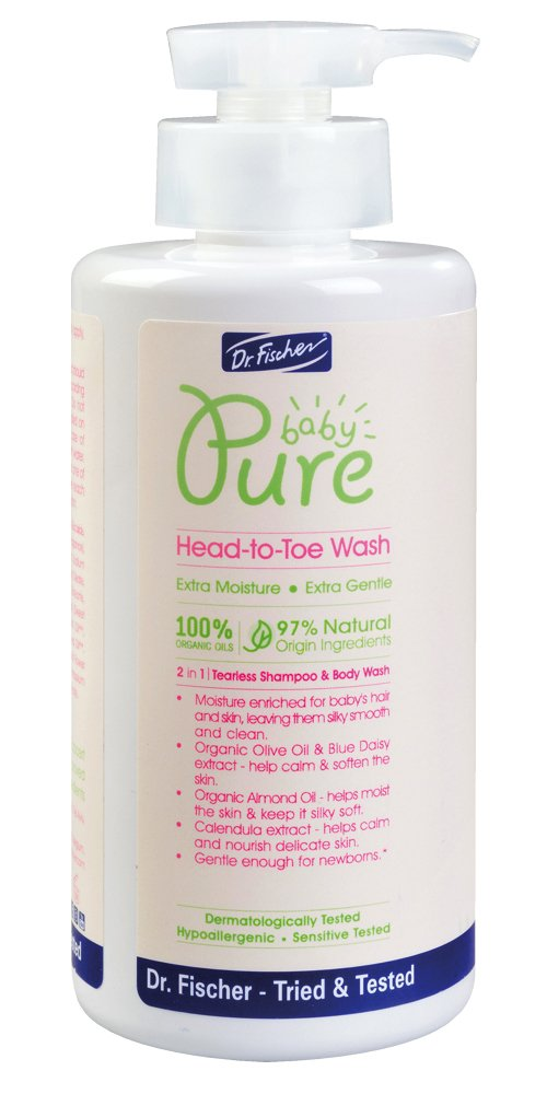 Pure Baby Shampoo and Body Wash by Dr. Fischer with 100% Organic Oils & 97% Natural Origin Ingredients for Sensitive Skin Care of Newborns Toddlers and Adults - head to toe (13.5 Oz)