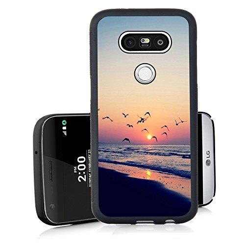 new style 09d99 6d090 LG G5 Case, LG G5 Black Cover TPU Rubber Gel - Under the setting sun Beach