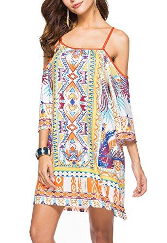 Women Bohemian Style Geometric Pattern 3/4 Sleeve Vintage Dress - 9