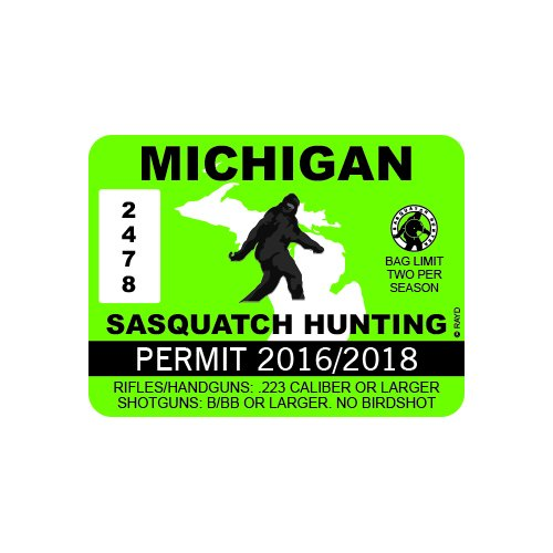 Michigan Sasquatch Hunting Permit - Color Sticker - Decal - Die Cut