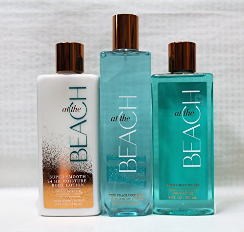 Bath & Body Works ~ Signature Collection ~ At The Beach ~ Shower Gel ~ Fine Fragrance Mist & Body Lotion ~ Trio Gift Set (Fragrance Gift Collection Set)