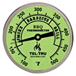 Tel Tru BQ300 Barbecue Thermometer 3 inch glow dial with zones 4 inch stem 100 500 degrees F