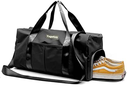 Yugefom Dry Wet Separated Gym Bag, Sport Gym Duffle Holdall Bag Training Handbag Yoga Bag Travel Overnight Weekend Shoulder Tote Bag with Shoes Compartment for Man and Women