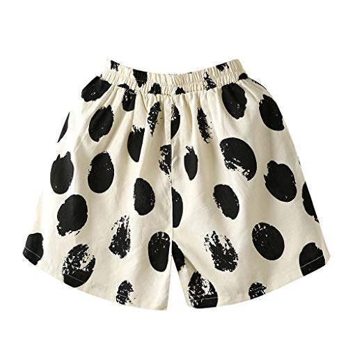 JOFOW Shorts Womens Cotton Linen Casual Loose Polka Dots Print Two Tone Mini Pants A Line Comfy Fashion Pajamas Trousers Gift