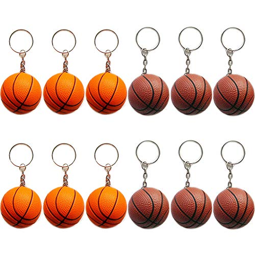 (DoyiFun 12Pcs Basketball Sports Ball Keychains Pack Includes Orange & Brown for Kids Party Favors & School Carnival)