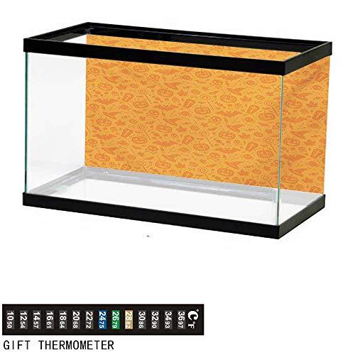 wwwhsl Aquarium Background,Halloween,Monochrome Design with Traditional Halloween Themed Various Objects Pumpkin Bat Print,Orange Fish Tank Backdrop 30