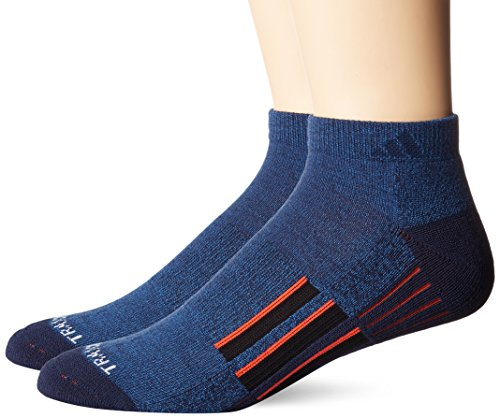 adidas Mens Climalite X II Low Cut Socks (2-Pack), Denim Blue/Collegiate Navy/Energy Red/Black, Large