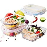 3-Pack Glass Food Storage Containers for Kitchen - Meal Planning...