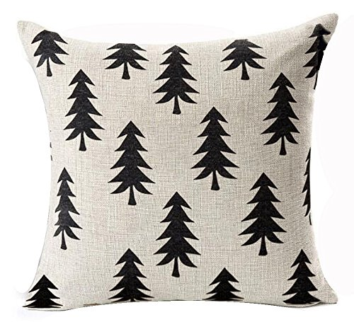 - QINU KEONU Pine Tree Forest White Geometry Cotton Linen Throw Pillow Case Cushion Cover Home Sofa Decorative 18 X 18 Inch ¡­ (Style G)