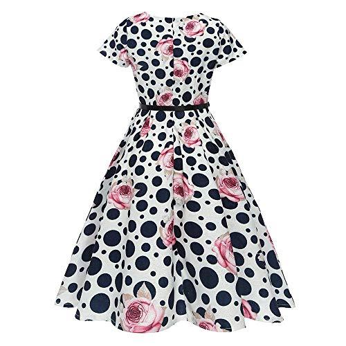 Floral Playa Mujer Estampado 1 Cintura Informal Elegante Imprimir Hepburn Small Vestido Negro Túnica Color De Rosado Vestidos Con Corbata Mini Vintage Camiseta Tamaño 0xIFqwf5