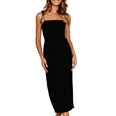 a2111661a0 HEHEMAUD Women Sexy Off Shoulder Backless Sleeveless Dress Evening Party  Dress Black White Blue S M L XL  Amazon.co.uk  Clothing