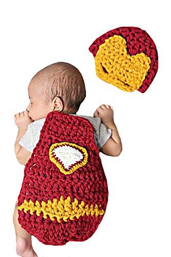 Liange Newborn Baby Photography Prop Crochet Iron Man Hat Cape Costume (Infant Iron Man Costume)