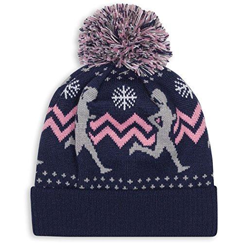 Gone For a Run Girl Runner Pom Pom Beanie Hat | Running Hats Pink