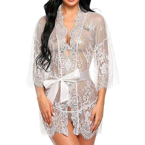 Sleepwear Mesh Set Donne Babydoll da Lace Bianco Sexy Camicia Pigiama string G Lingerie Notte UMIPUBO Vestaglia Sleepwear Dress pgvnUXCCq