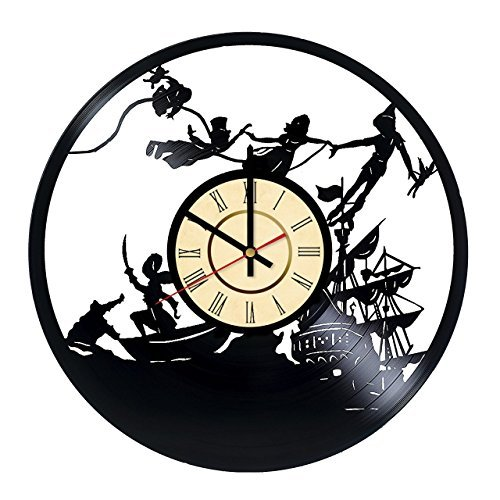Fun Door Peter Pan Handmade Vinyl Record Wall Clock for Birthday Wedding Anniversary Valentine