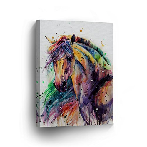 Horse Watercolor Painting Colorful Rainbow Portrait CANVAS PRINT Decorative Art Wall Décor Artwork Wrapped Wood Stretcher Bars - Ready to Hang - %100 Handmade in the USA -