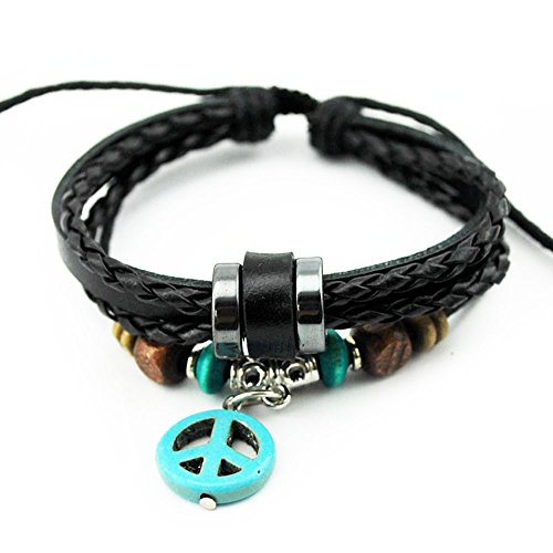 Real Spark Unisex Triple Layers Black Braid Leather Cord Peace Sign Charm Beads Pendant Wrap (Jelly Bracelts)