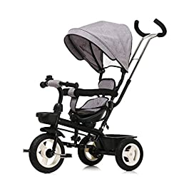 Foldable Baby Strollers Creative Large Storage Children's Tricycle, Detachable Push Handle With Sunshade Kids Pedal Trike Bike, Rotatable Seat Baby Stroller Lightweight Design (Color : Gray)