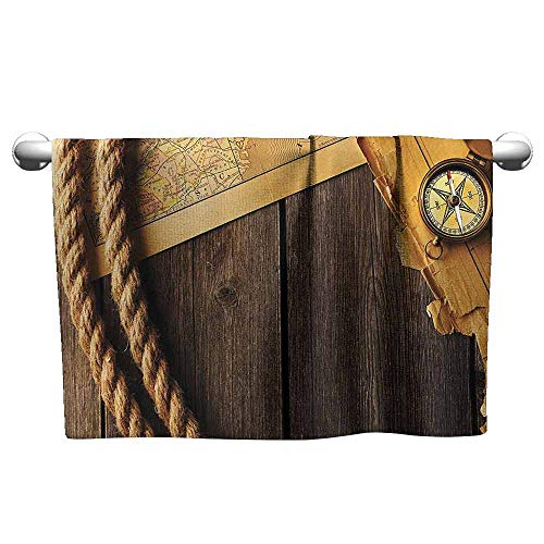 DUCKIL Personalized Hand Towels Compass Decor Collection Antique Brass Compass and Rope Over Old Map on Wooden Timber Table Illustration Soft Bath Towel 27 x 14 inch Brown Gold