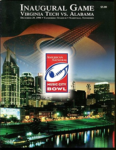 1998 Music City Bowl Game Program Virginia Tech v Alabama 12/29/98 Ex 34833