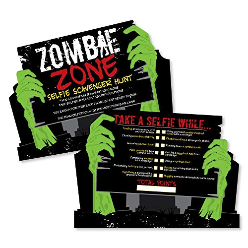 Zombie Zone - Selfie Scavenger Hunt - Halloween or Birthday Zombie Crawl Party Game - Set of -