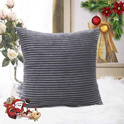 (HOME BRILLIANT Striped Corduroy Plush Velvet Large Euro Sham Fall Decoration Cushion Cover for Couch, 24 x 24 inch (60cm), Dark Grey)